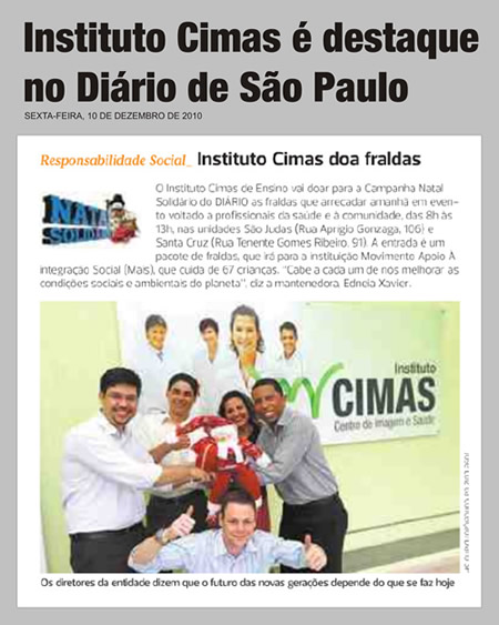 - 13/12/2010 - Responsabilidade Social - Instituto Cimas doa fraldas